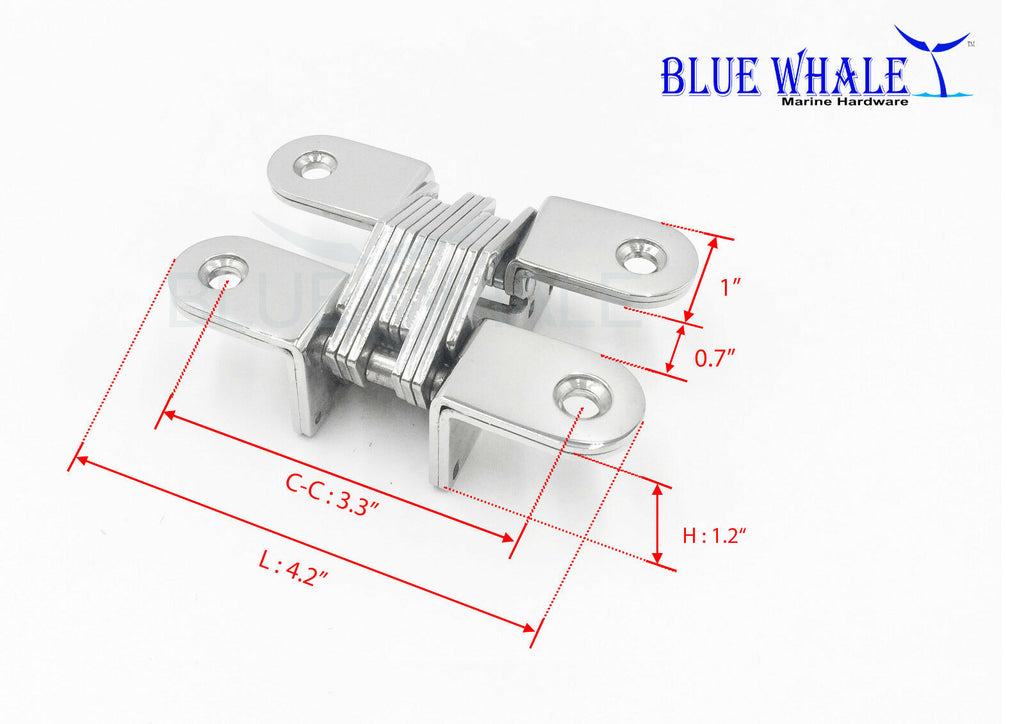 2PCS 304 S.S. Hidden Hinge USA BL32580764