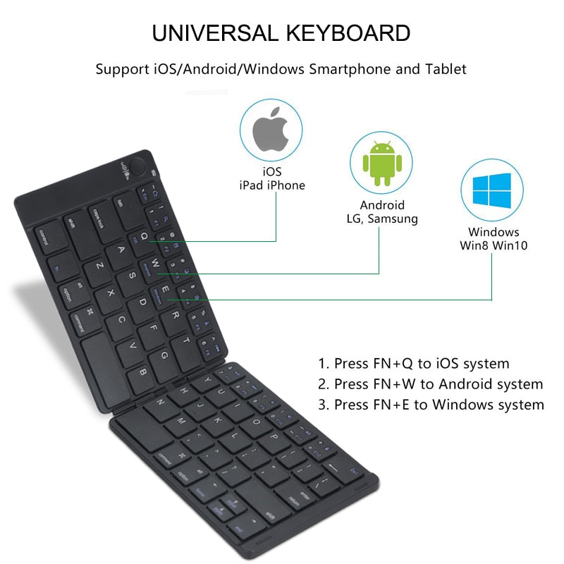 Foldable Keyboard - Leather & Wireless - Supports Any Phone