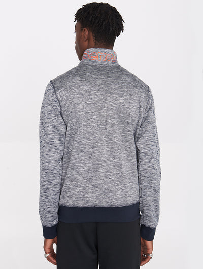 Funnel Neck Zip-up Bonded Sweater