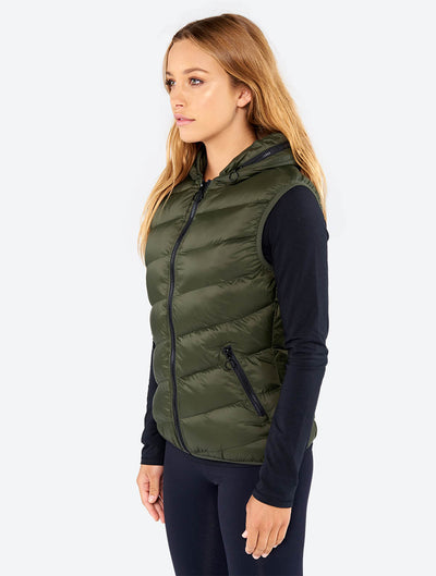 Core Puffer Vest With Hood In Collar