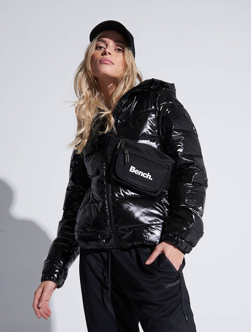Water Repellent Shiny Quilted Bomber Jacket