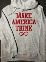 Make America Think Hoodie - Grey & Red (Unisex)