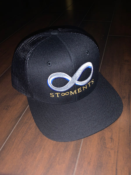St8ment Logo Snapback - Black, White, Gold, & Royal Blue