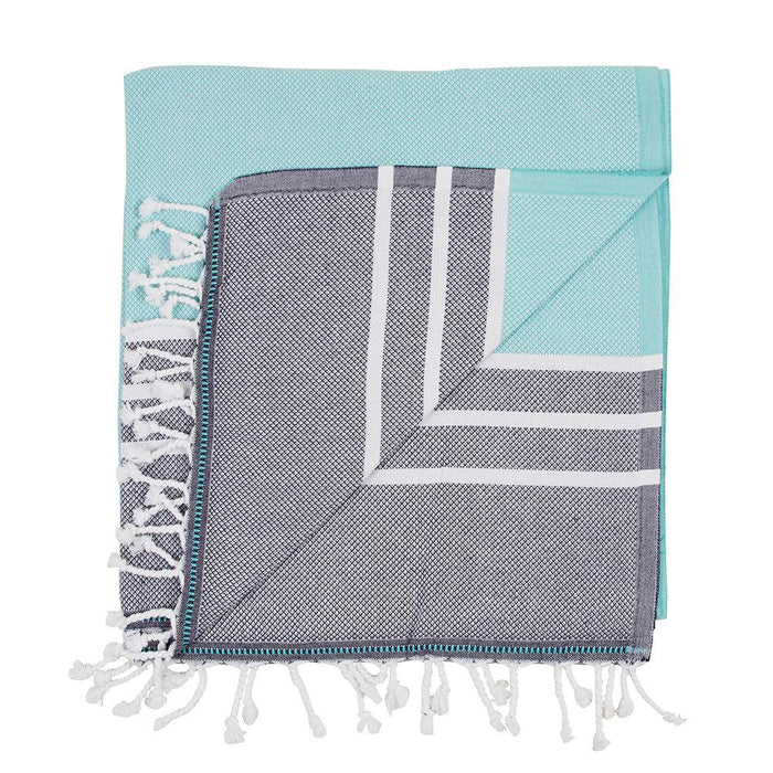 CORINDI TOWEL - MINT / NAVY
