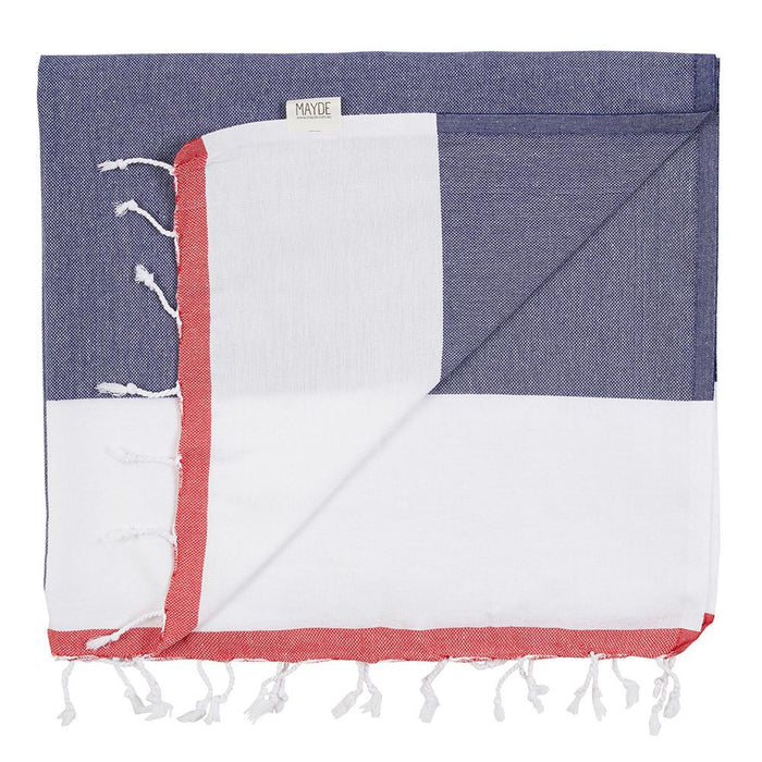 CASTAWAY TOWEL - NAVY / RED