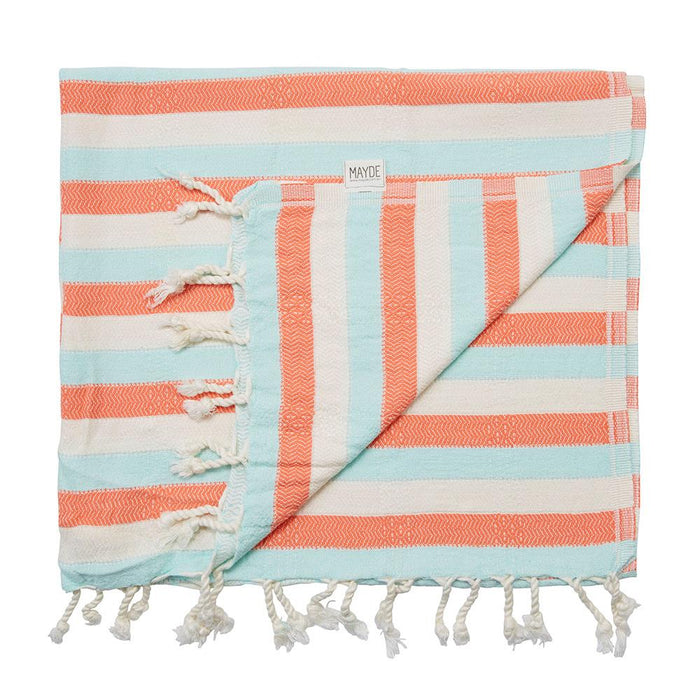 REEF TURKISH TOWEL - MINT / CORAL