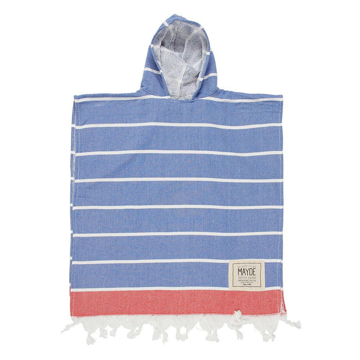 KIDS SHELLY PONCHO - MARINE / RED