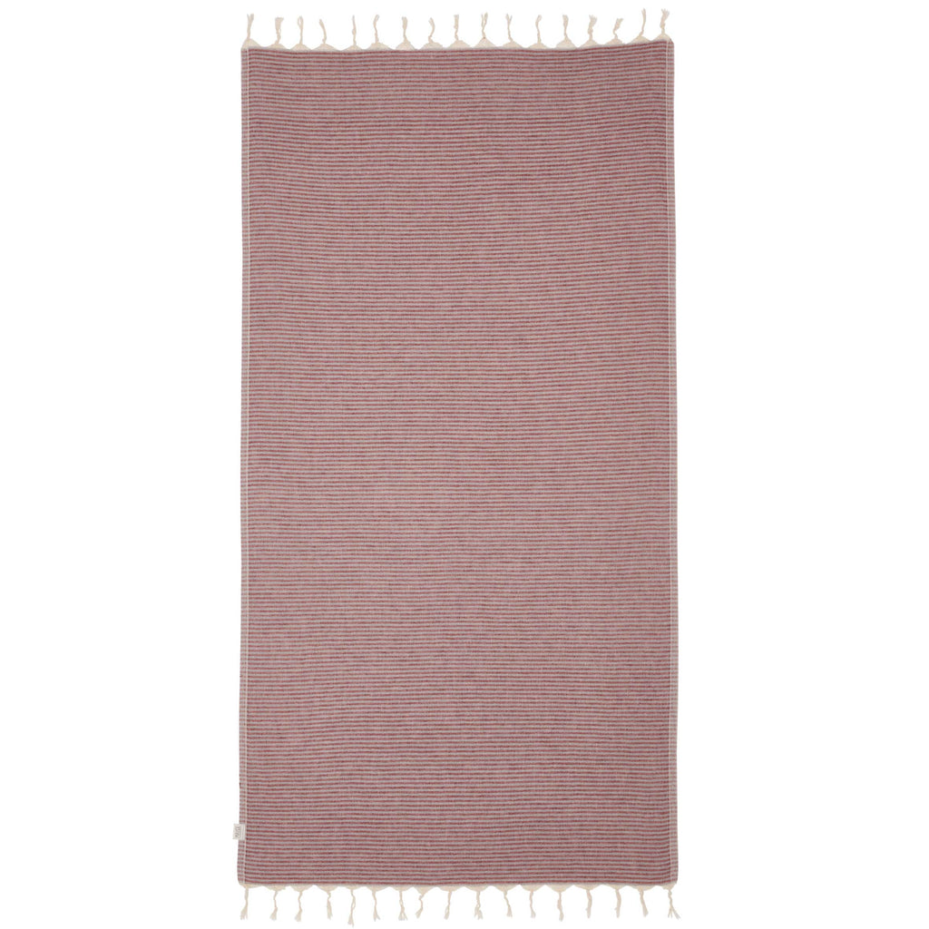 NOOSA TOWEL - CHARCOAL/BURGUNDY
