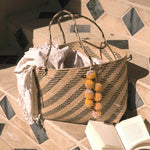 Borneo Sani Stripes Straw Tote Bag - with Marigold