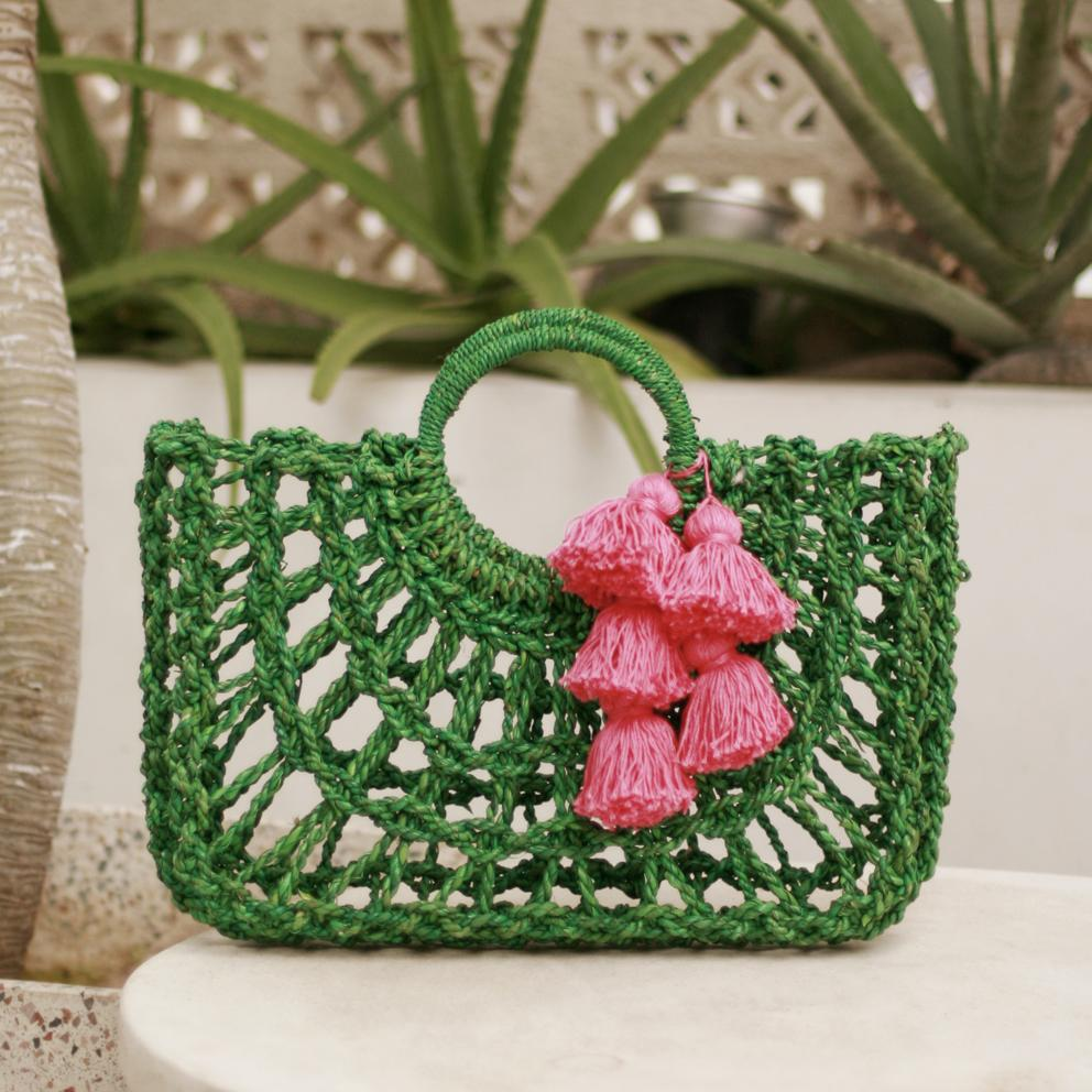 Dayu Straw Bag with Hot Pink Tassels, in Lush