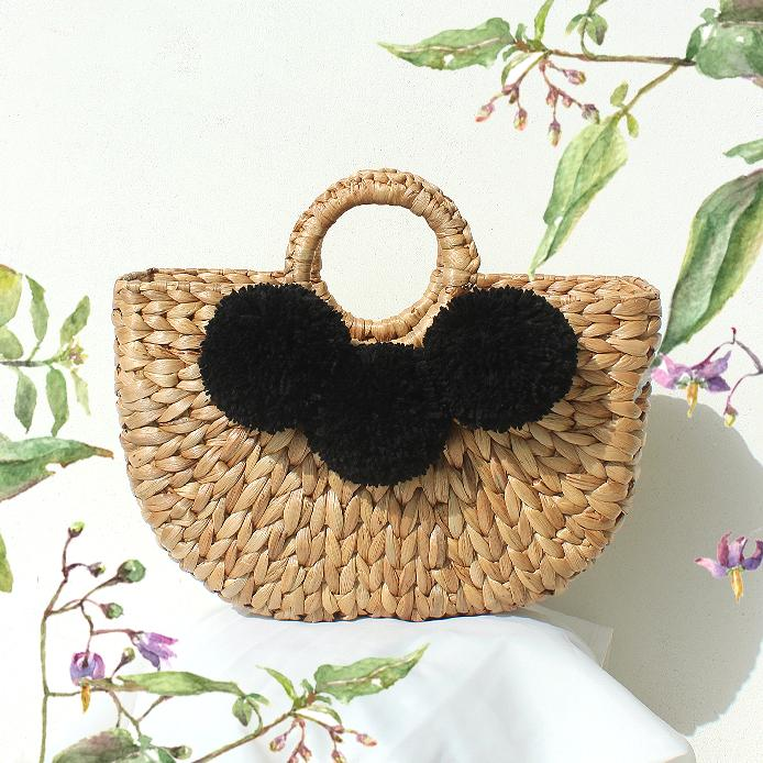 Water Hyacinth Straw Beach bag - with Large Black