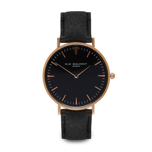 Personalised Vegan Leather Watch in Black with