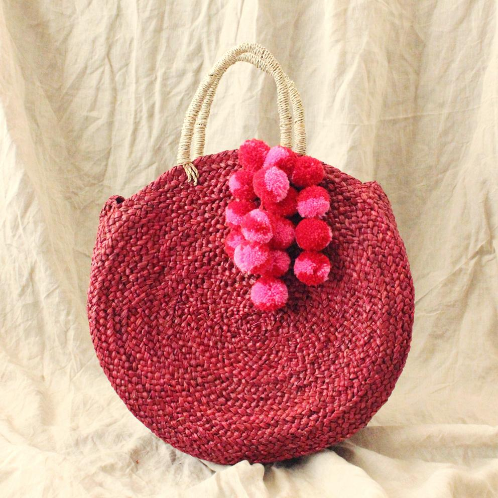 Red Luna Bag - Round Handwoven Straw Tote Bag with