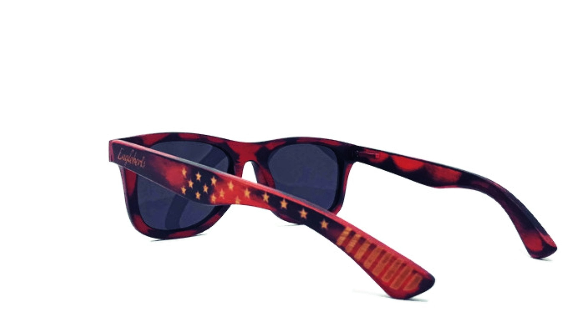 Red Burnt Bamboo Sunglasses With Wood Case
