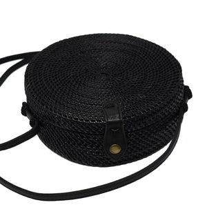 CAMILLA {Black} - A Circle Rattan Straw Shoulder