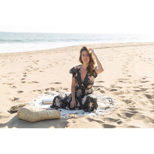 Black Block Print Roundie Beach Blanket