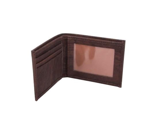 Men's Vegan Cork Wallet. Chocolate