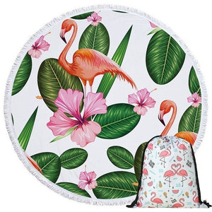 serviette ronde imprimé tropical hibiscus et flamand rose