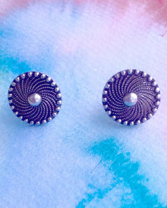 KV Handmade Jewellery Round Silver Button Earrings