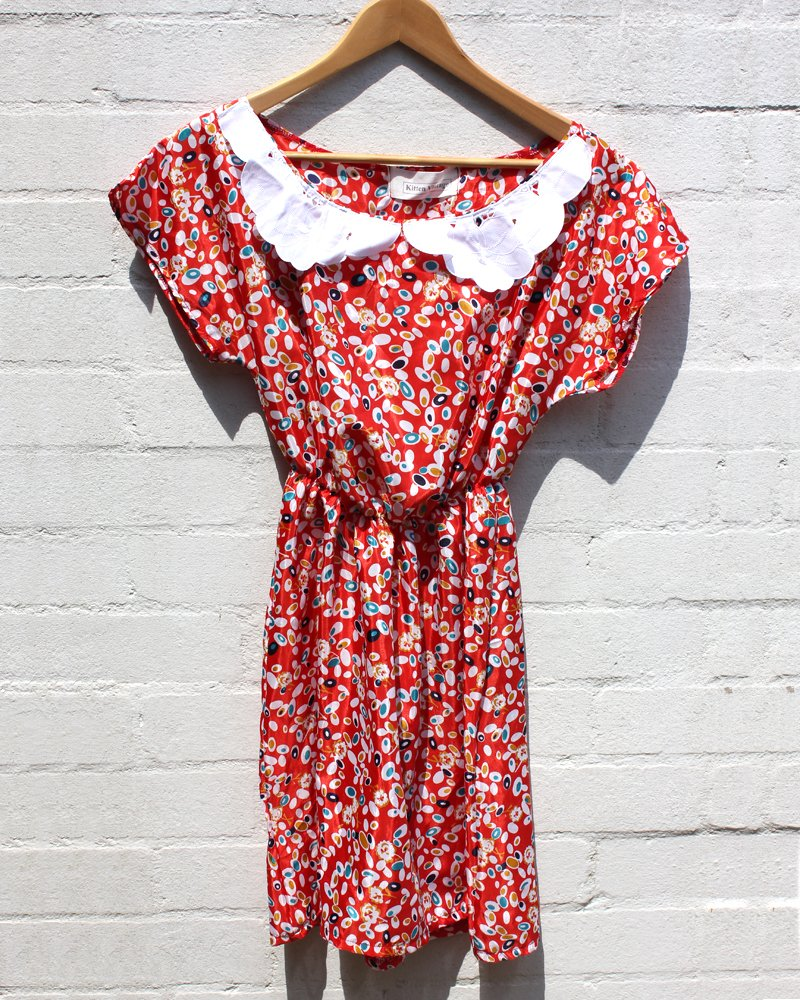 KV Handmade Red Floral Lace Collar Dress Small