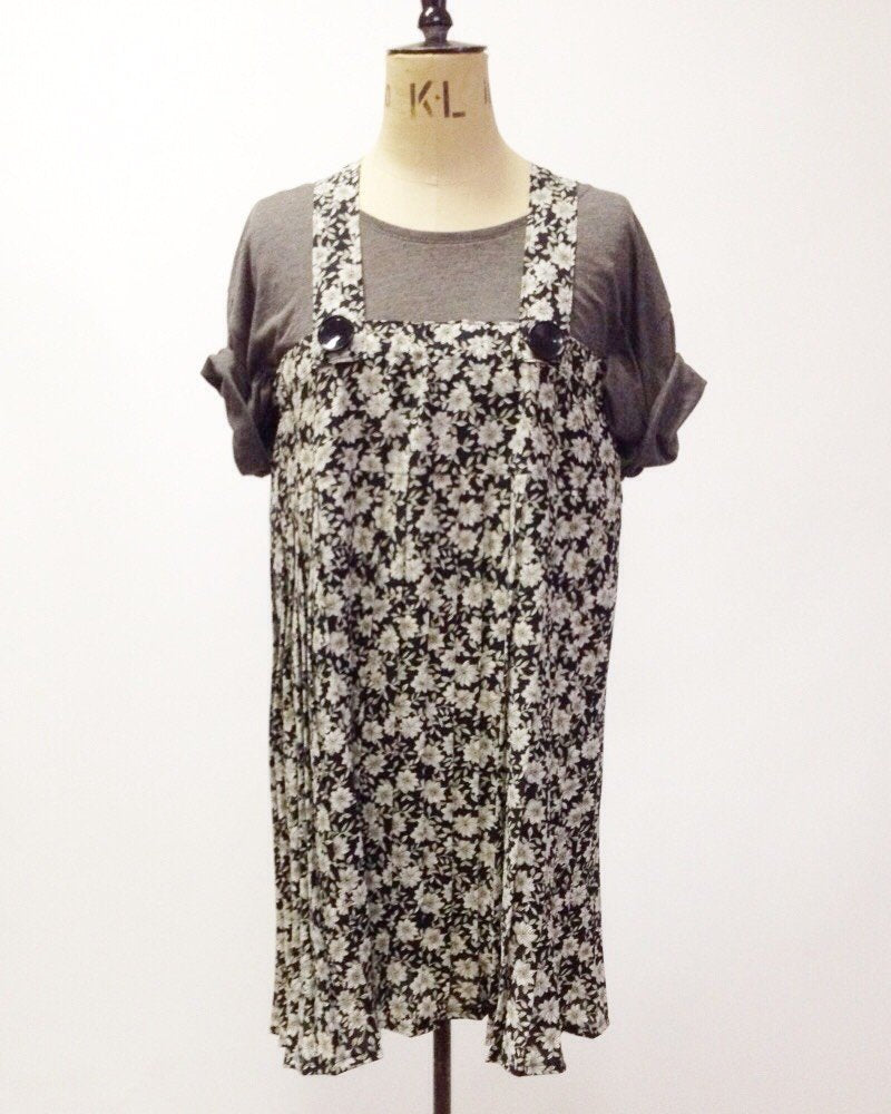 KV Remade Black Floral Pinafore Dress
