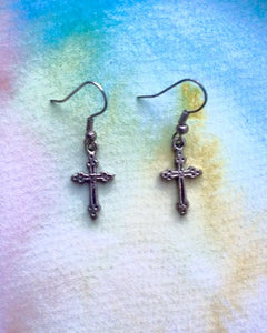 KV Handmade Jewellery Silver Cross Earrings