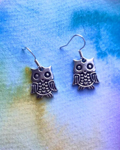 KV Handmade Jewellery    Silver Owl Earrings