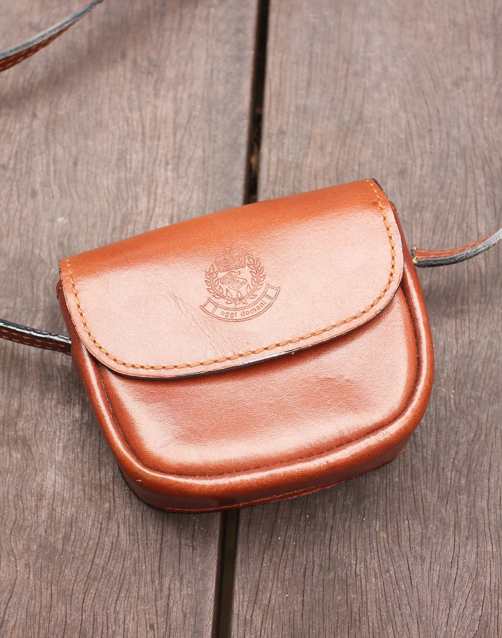 Small Tan Leather Pouch Bag