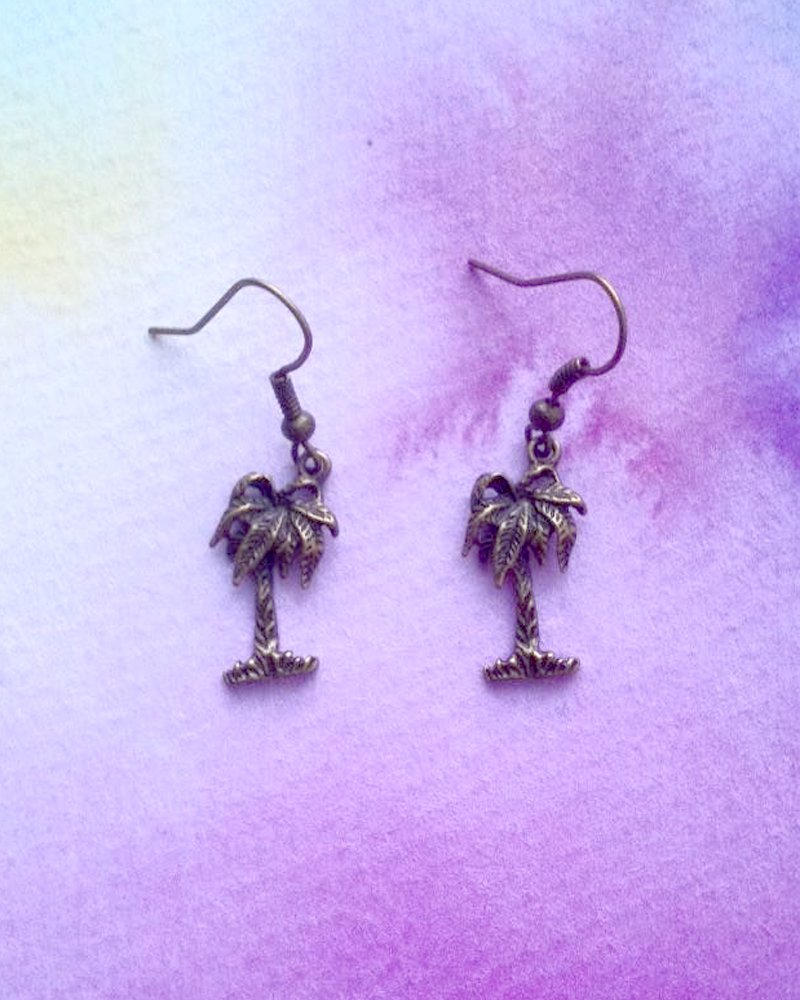 KV Handmade Jewellery Bronze Palm Tree Earrings