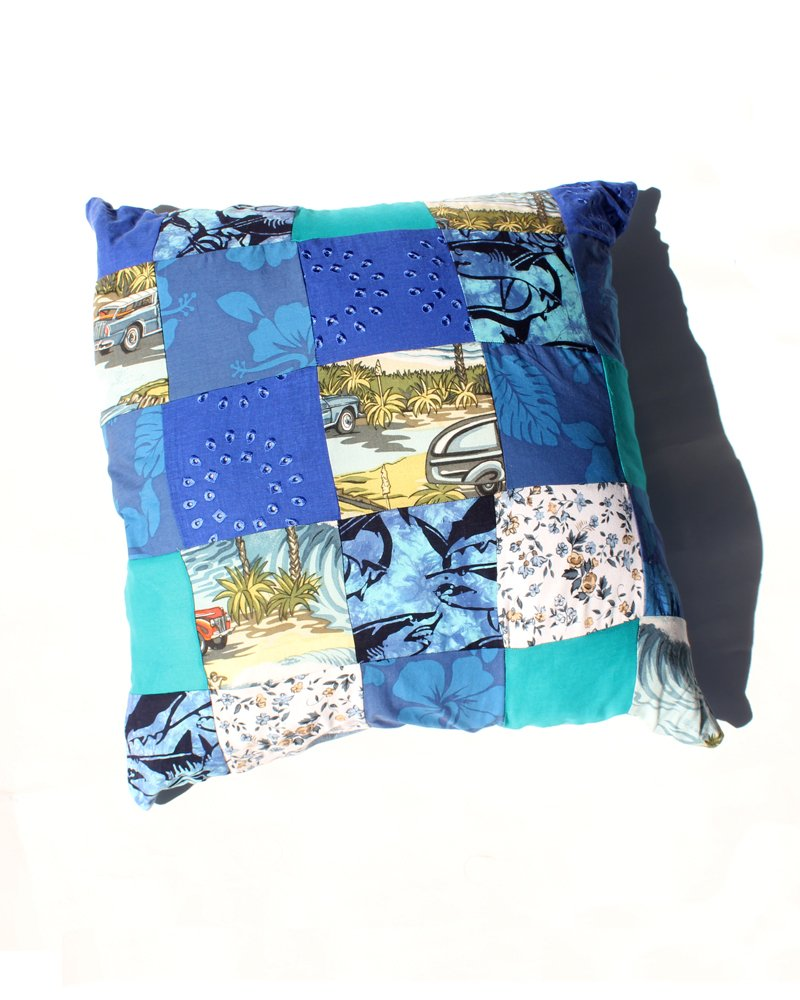 Handmade Upcycled Patchwork Cushion Blue