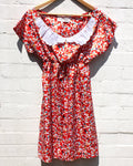 KV Handmade Red Floral Lace Collar Dress Medium