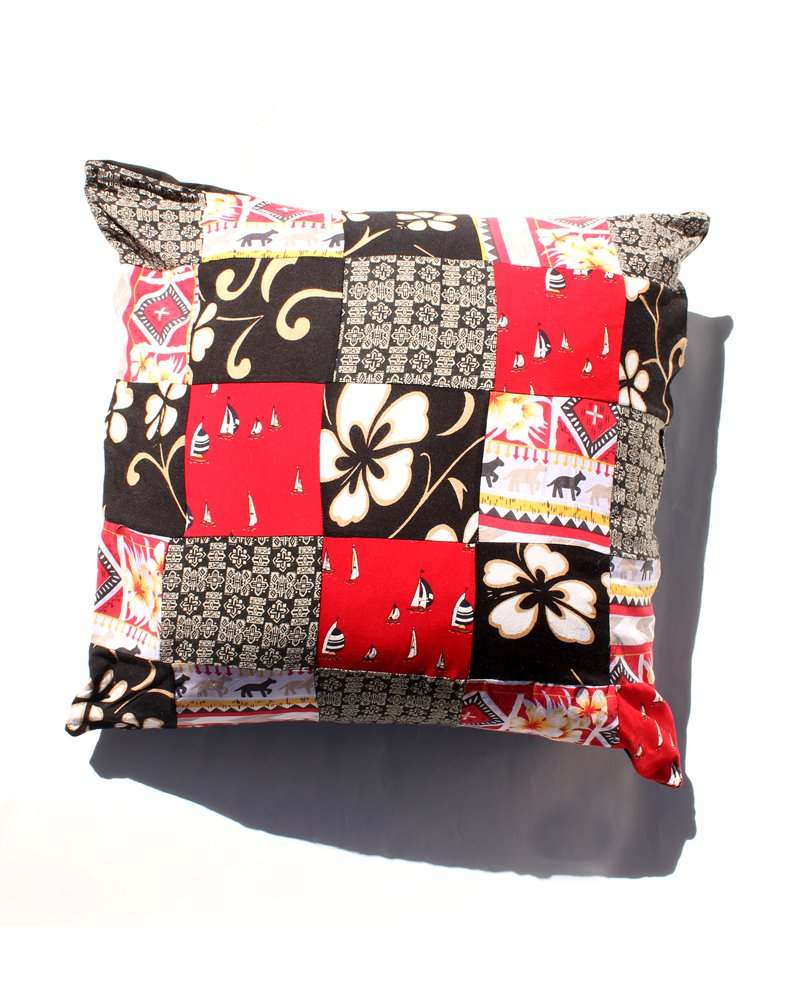 Handmade Upcycled Patchwork Cushion Red