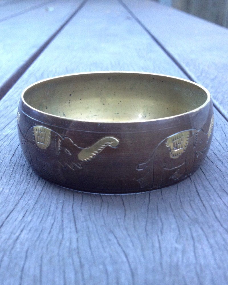 Vintage 70's Brass Elephant Bangle