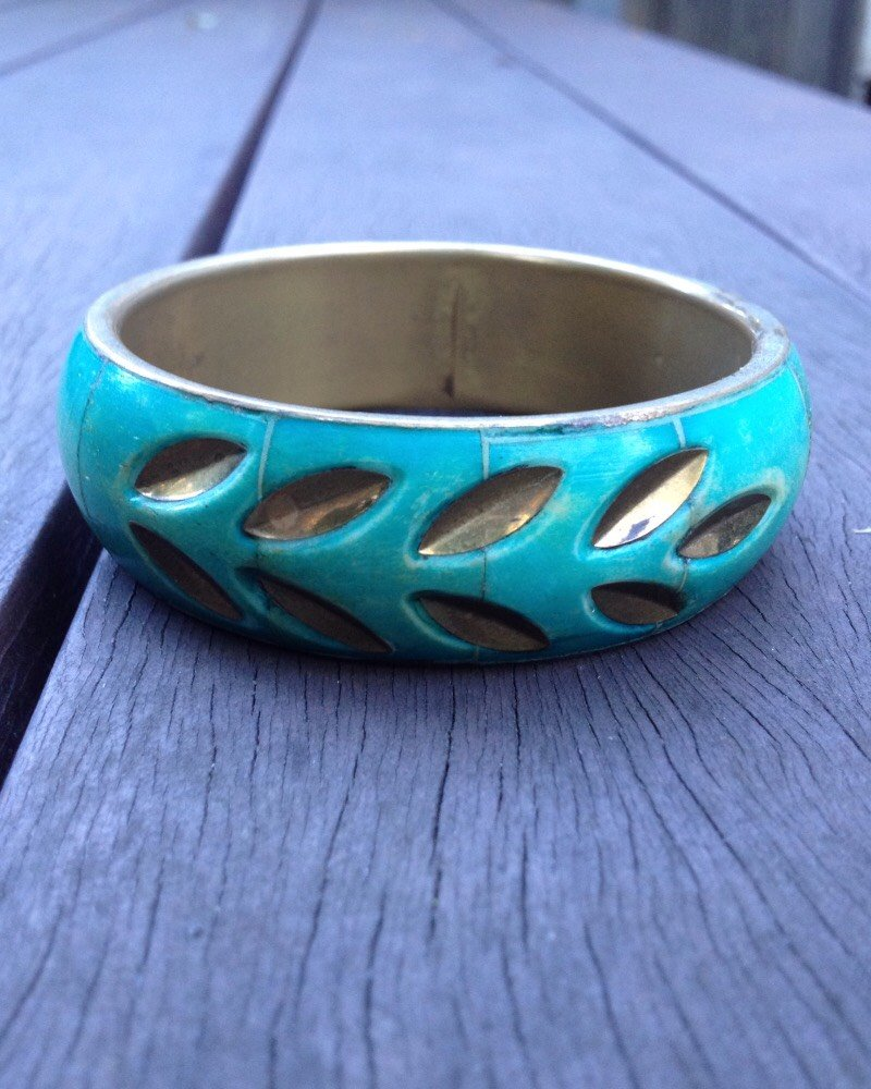 Vintage 70's Brass Jade Leaf Bangle