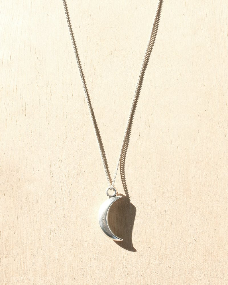 KV Handmade Jewellery Silver Moon Charm Necklace