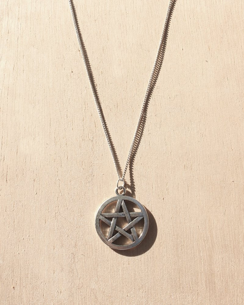 KV Handmade Jewellery Silver Pentacle Necklace Short