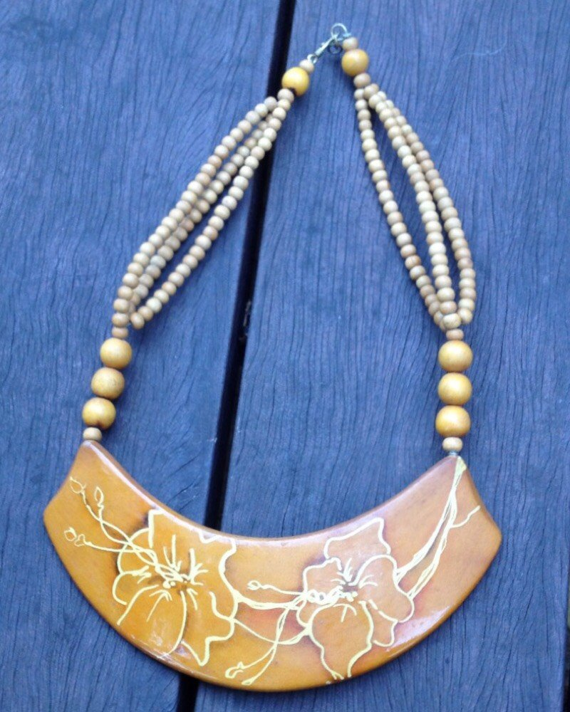 Vintage 80's Mustard Handpainted Necklace