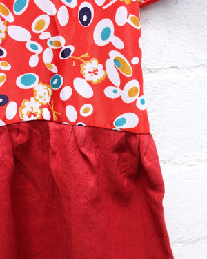 KV Handmade Red Printed Dolly Dress