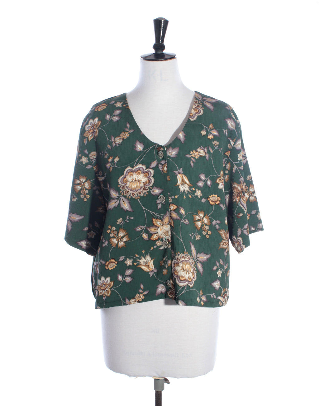 Floral Green Slouch Top