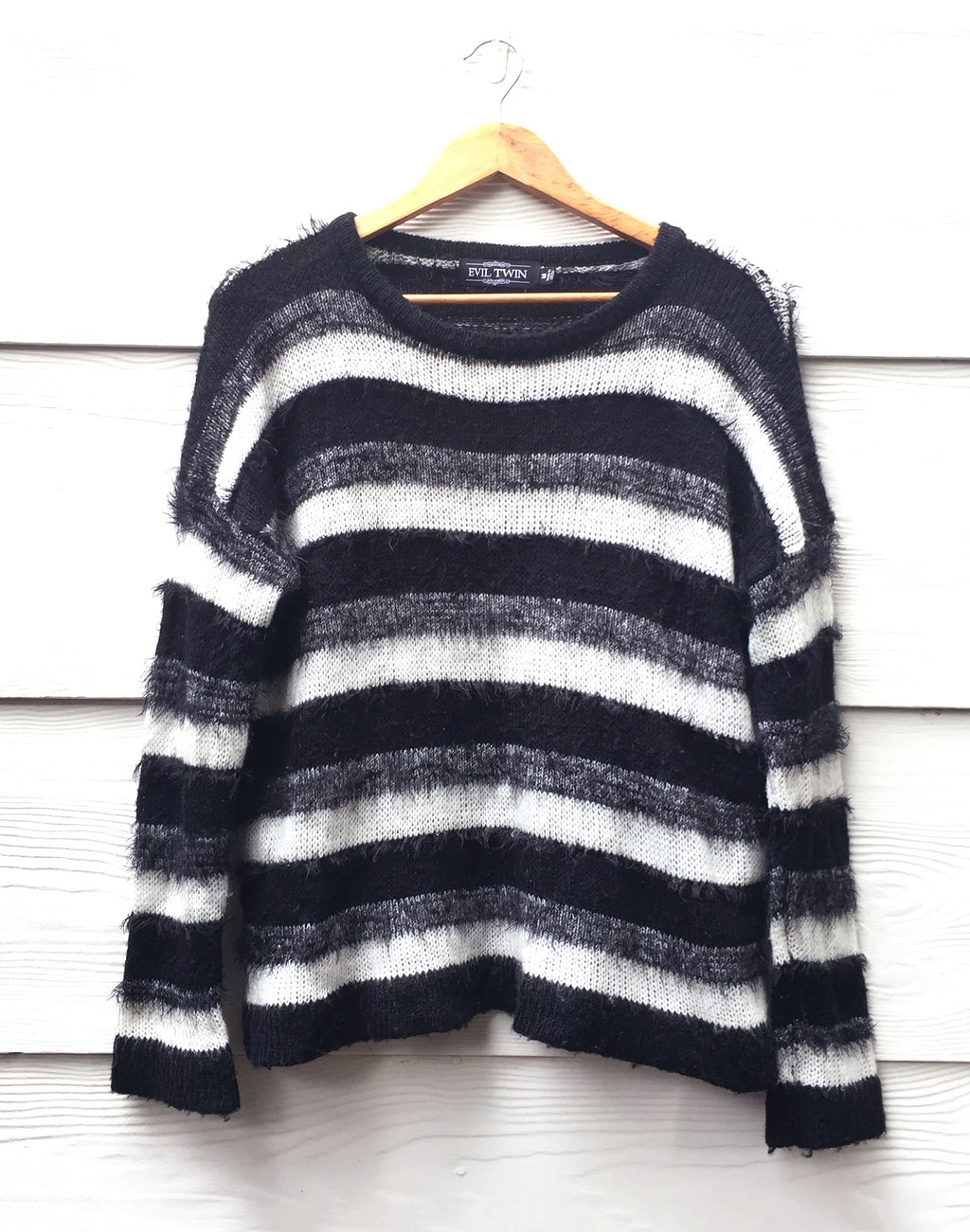 Evil Twin Black & White Stripe Jumper