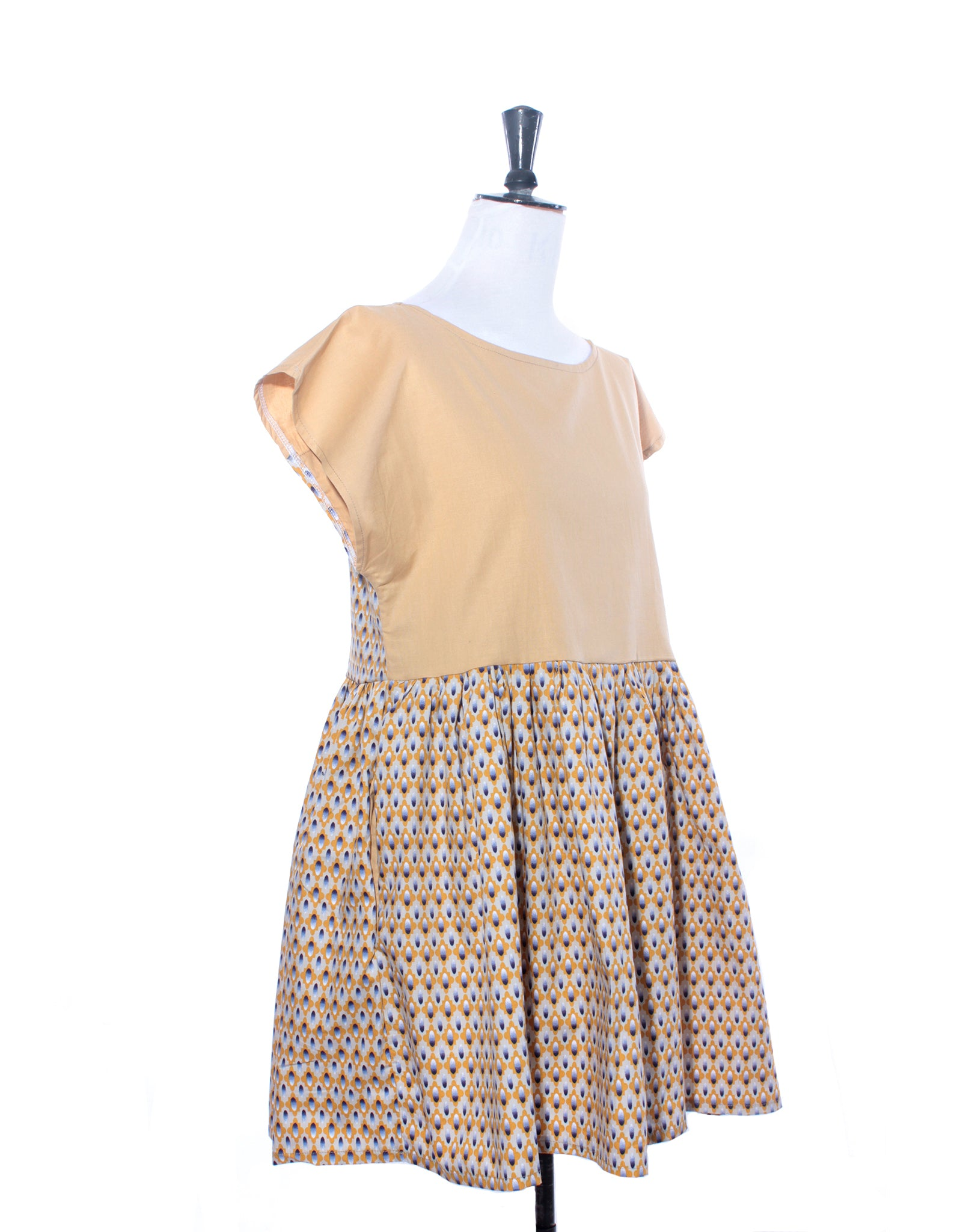Mustard and Graphic Floral Collector Dress Size S
