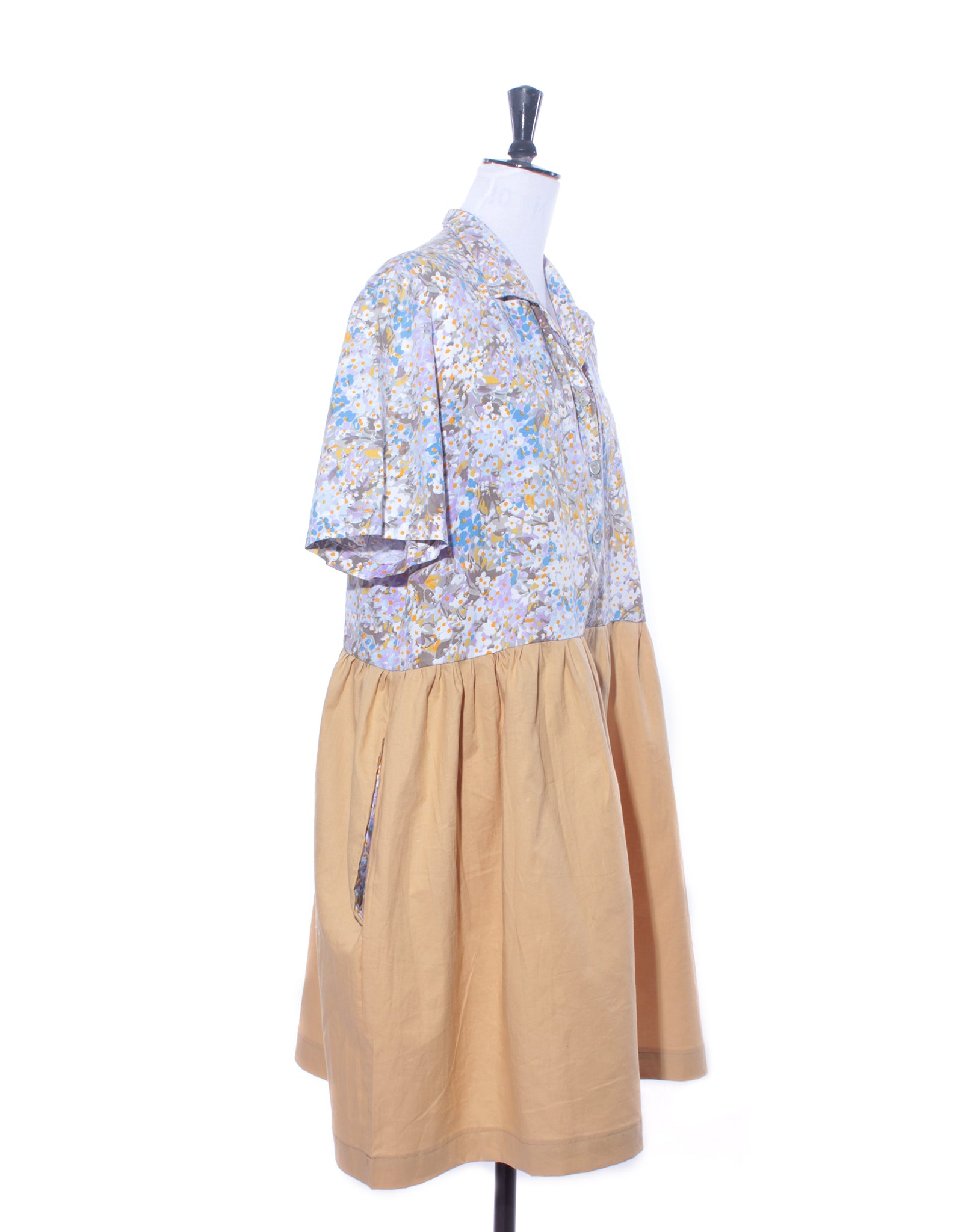 Mustard and Floral Shirt Collector Dress Size L