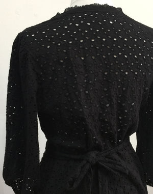 Black Broderie Anglaise Wrap Dress