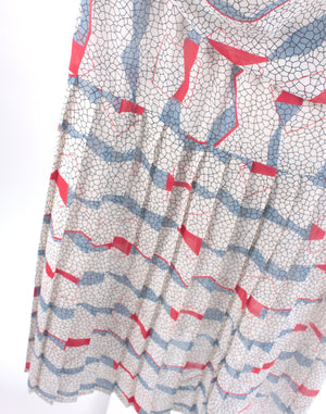 Vintage 80's Dolina Sydney Grey Red Squiggle Dress