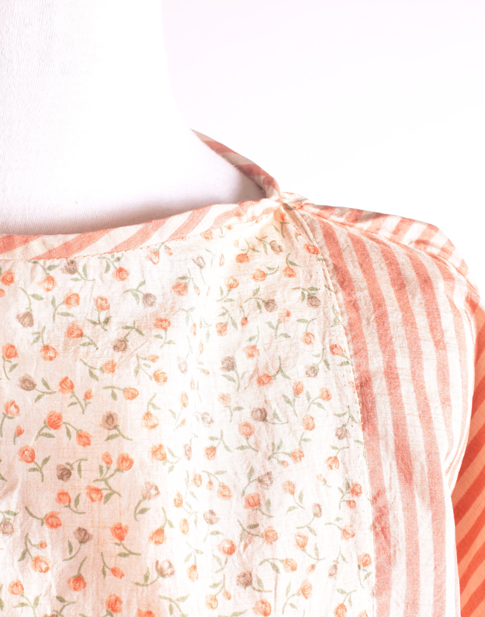 Peach Floral & Stripe Slouch Top