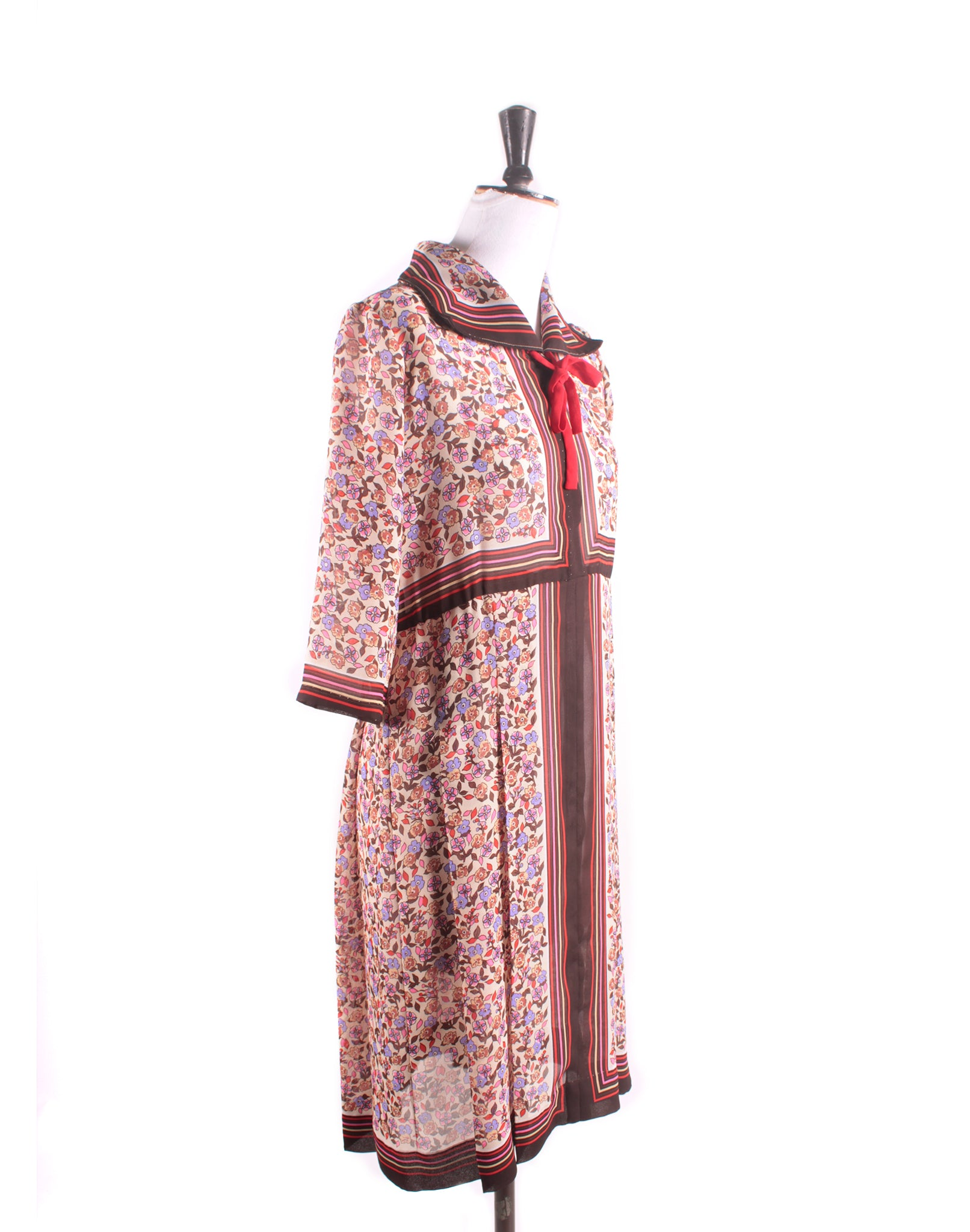 Vintage 70's Brown Floral Scarf Dress