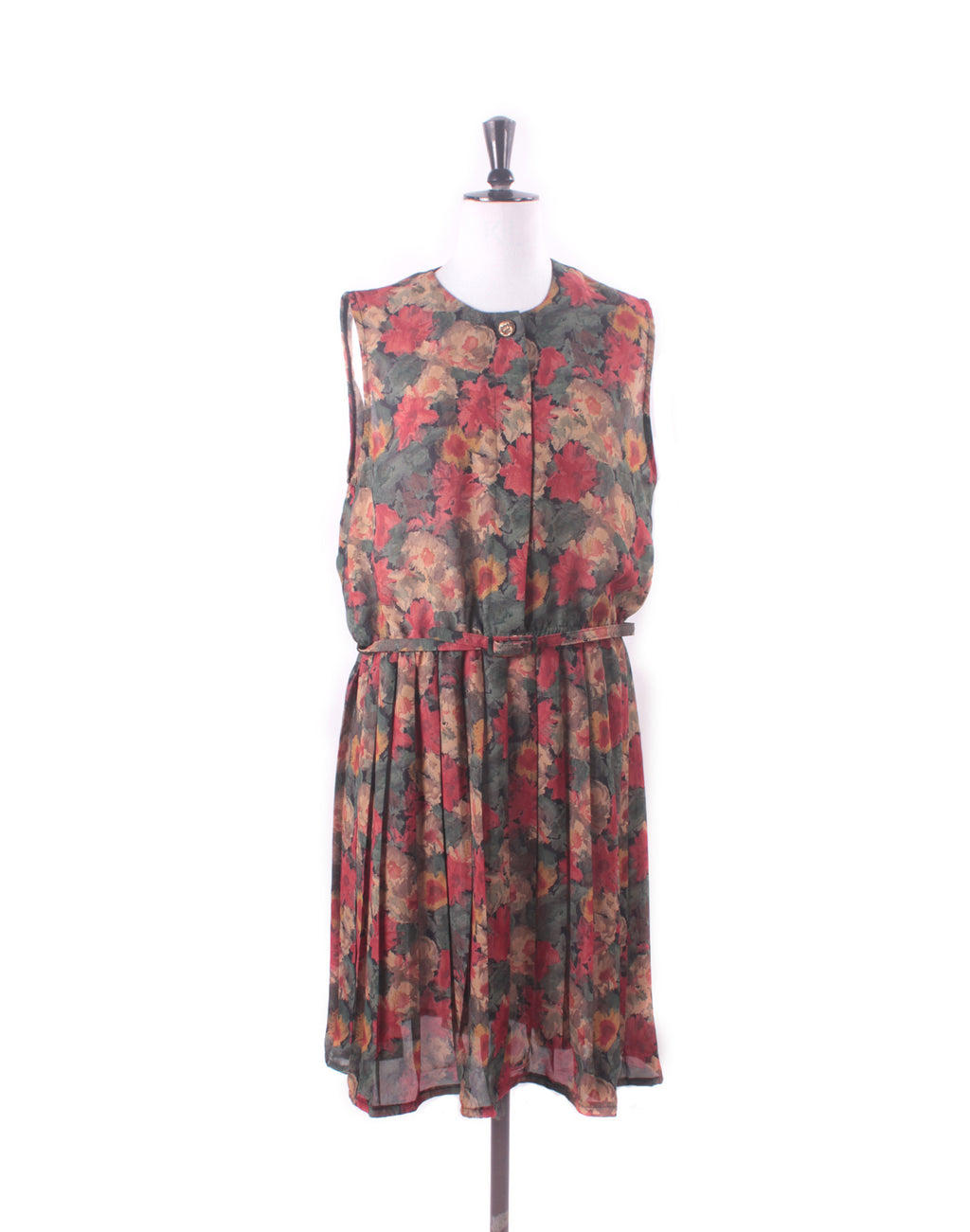 Vintage 80's Upcycled Brown Floral Dress