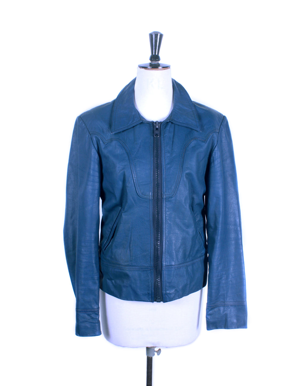 Vintage 70's Blue Leather Zip Jacket