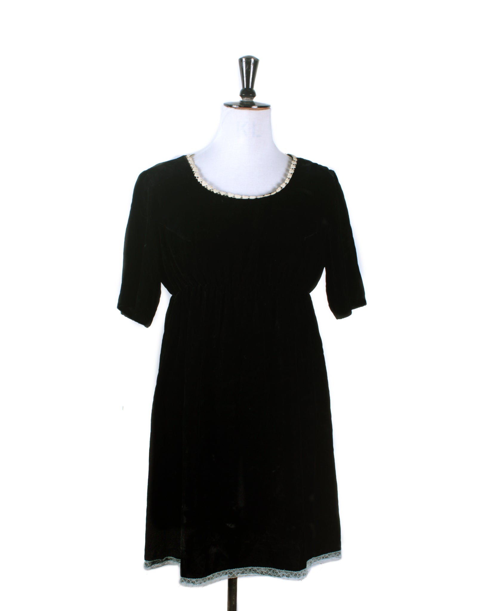 Vintage 60's Black Velvet Mini Dress