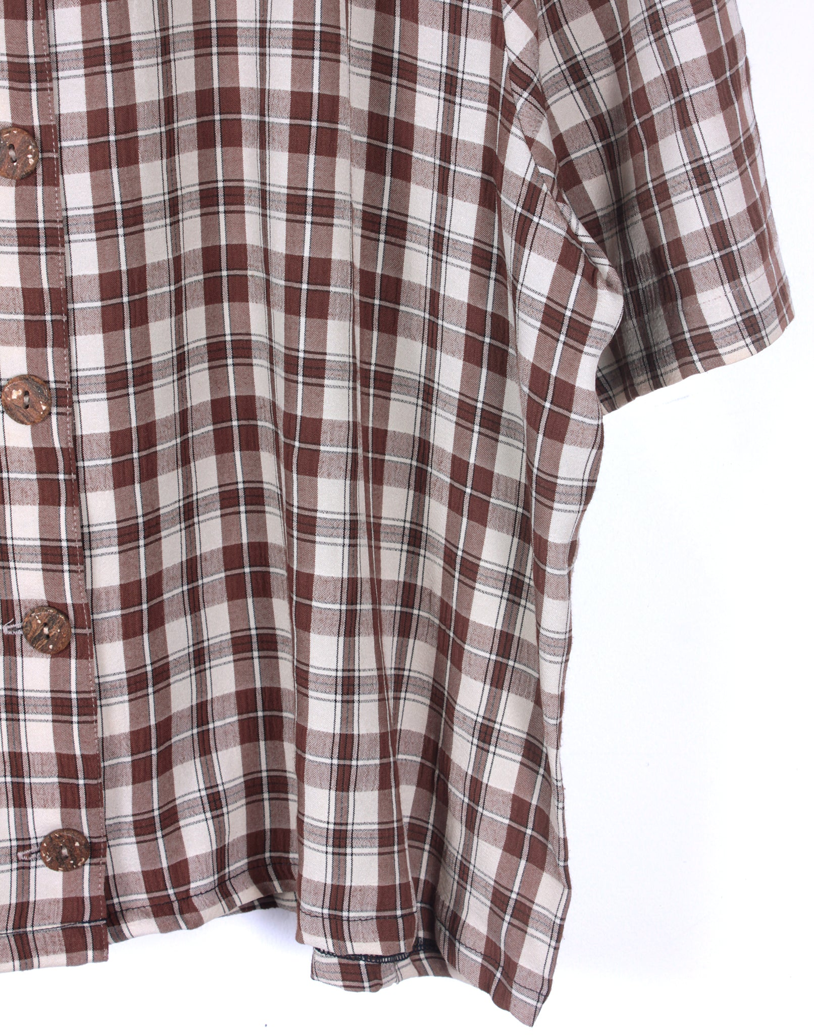 Brown Cream Check Crop Shirt